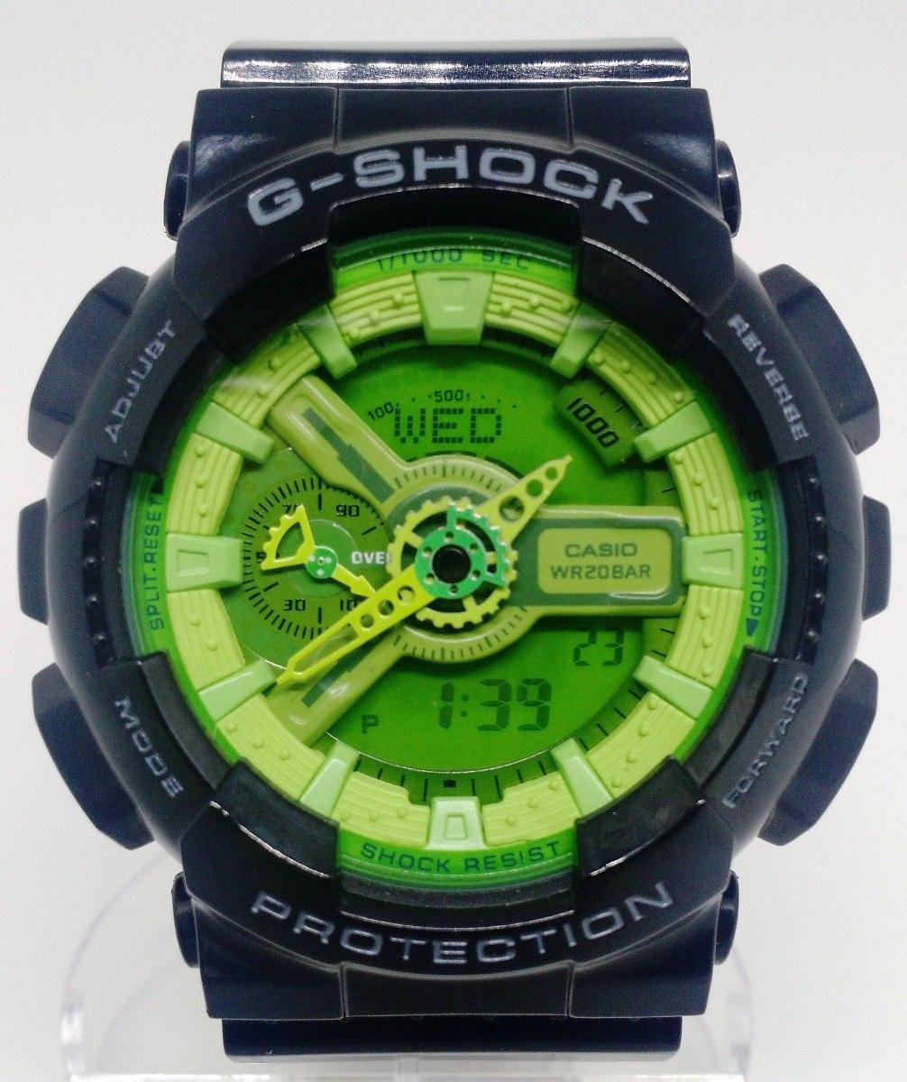 751d586927c relógio casio g shock ga 110b modelo 5146 preto fund. verde. Carregando  zoom.