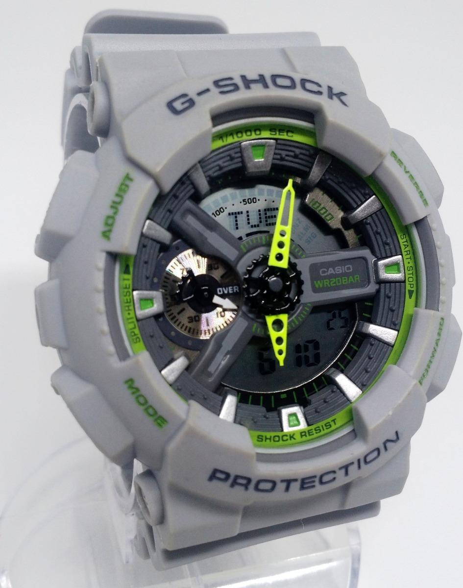 0ce53369ef3 relógio casio g shock ga 110ts modelo 5146 cinza det. verdes. Carregando  zoom.