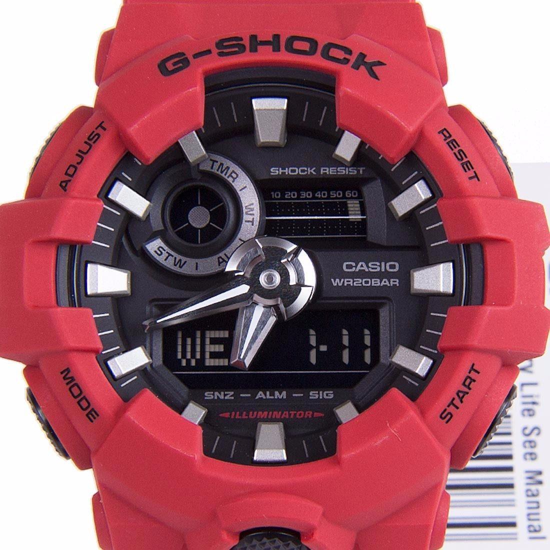 Relogio Casio G-shock Vermelho Detalhes Preto Ga-700-4adr