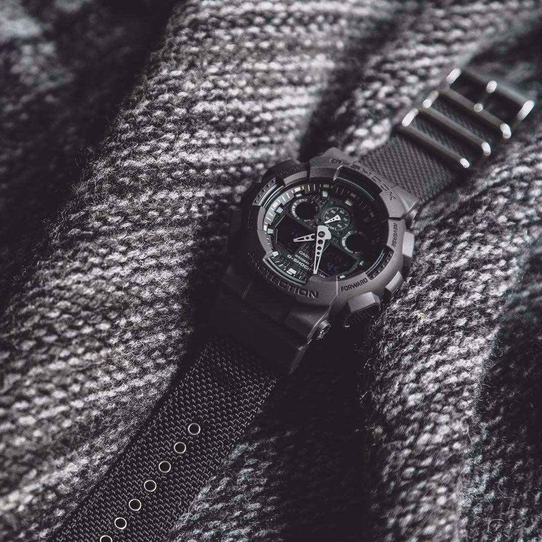 eb92427cba7 relógio casio g-shock ga100bbn pulseira lona - original. Carregando zoom.