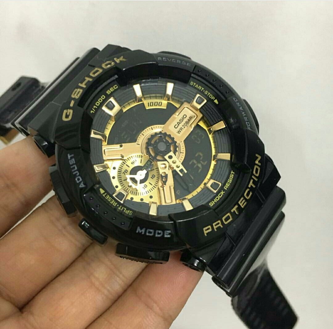 aa9c9ff14c9 Relógio Casio G-shock Preto Detalhes Dourado - R  350