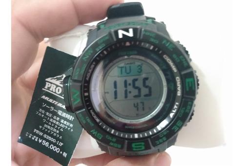 relógio casio g shock protrek fibra de carbono saphira