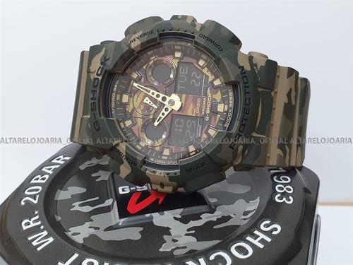 relógio casio g-shock série camouflage ga-100cm-5adr