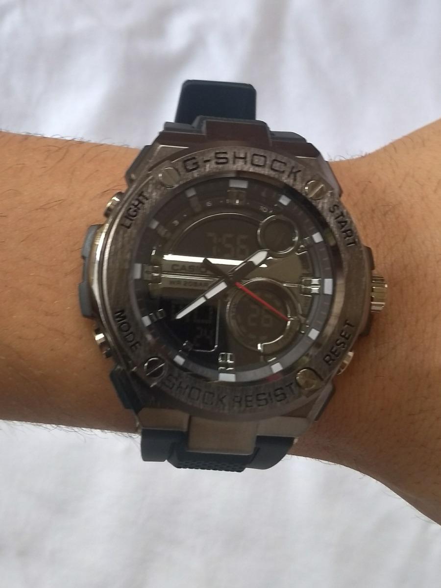 b86e5b8bd21 relógio casio gshock steel aço escovado preto metal. Carregando zoom.
