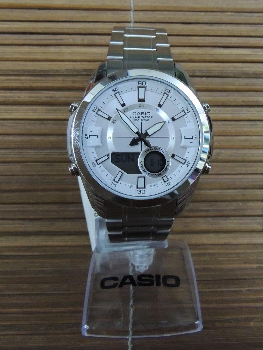 859d2f5523c Relógio Casio Hora Mundial cronógrafo - Amw-810d-7avdf - R  438