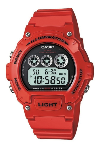 relógio casio illuminator w-214hc-4avcf vermelho original