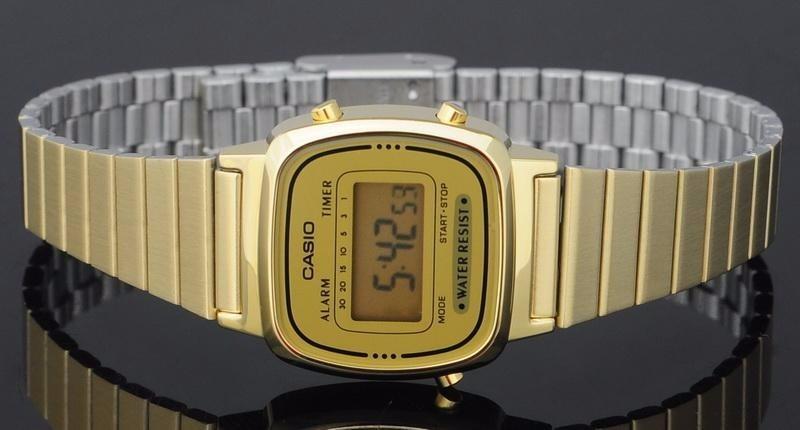 ad9b4aa56bc relógio casio la670wga 9df dourado retro vintage original nf. Carregando  zoom.
