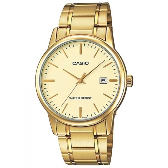 95471f04f0e Relógio Casio Mtp-v002g-9audf Padrão Masc Dourado- Refinado - R  259 ...