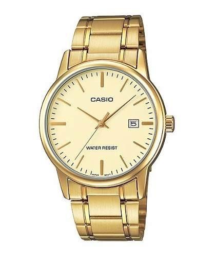 3821195ce5a Relógio Casio Masculino Mtp-v002g 9au Dourado Analógico - R  99