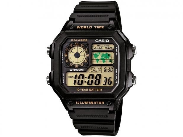 a67a7218f4e Relógio Casio Masculino Digital Hora Mundial Ae-1200wh - R  188
