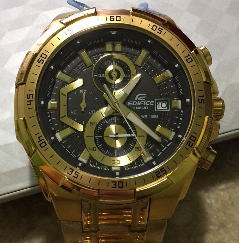 8d99afcbb70 relógio casio masculino edifice ef 539 dourado preto 12x. Carregando zoom.