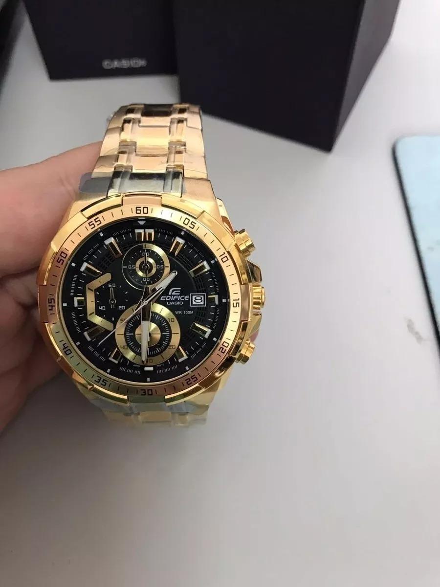 7a2fc521c6eb relógio casio masculino edifice ef-558d-1avudf. dourado. Carregando zoom.
