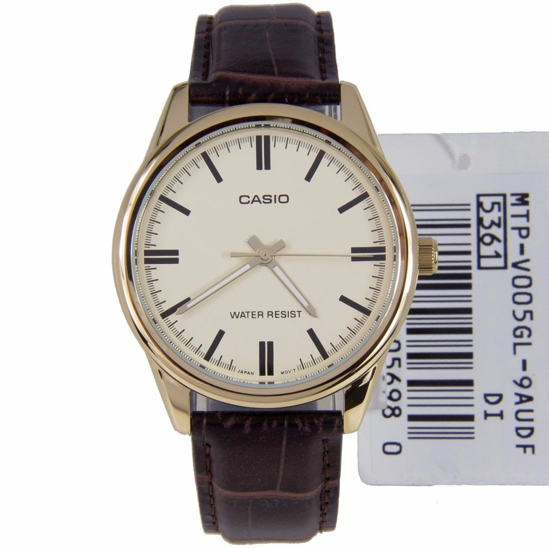 b7833eaccfa relógio casio masculino mtp-v005gl dourado couro marrom. Carregando zoom.