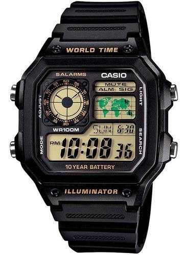 relógio casio masculino  mundial quadrado 5 alarmes