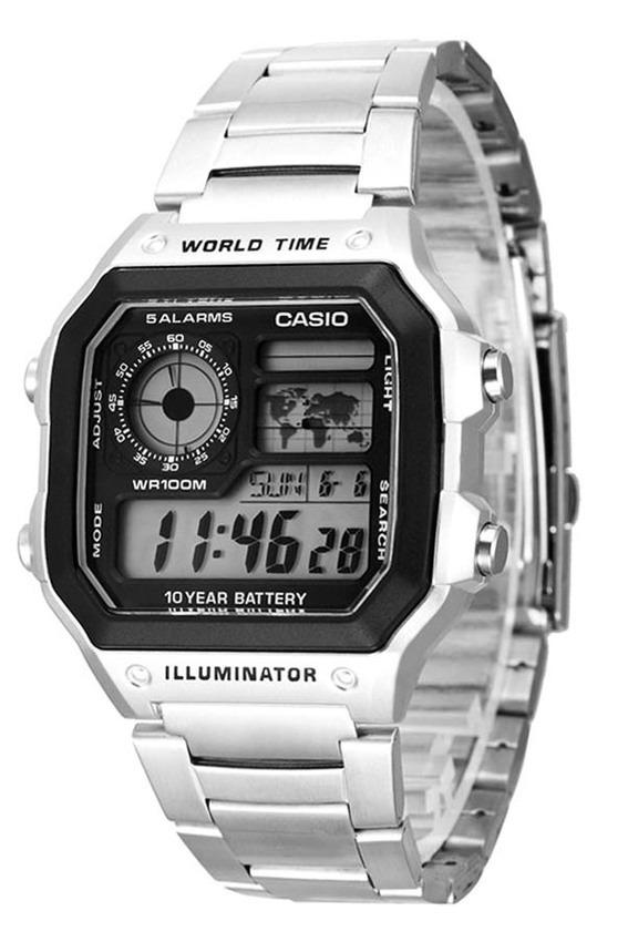 aed1463d171 relógio casio masculino prata silver mapa digital ae-1200whd. Carregando  zoom.