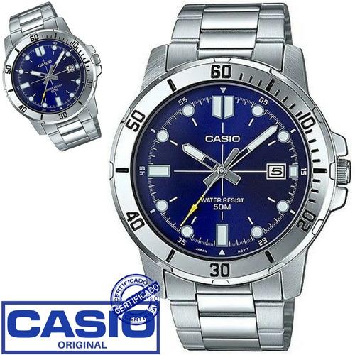 relógio casio masculino prateado original mtp-vd01d-2evudf