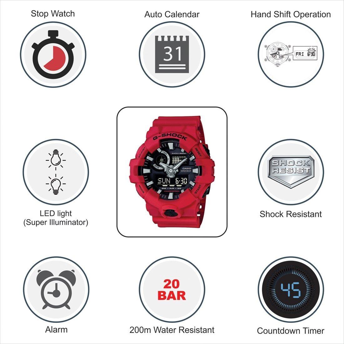 264120ebe04 Relógio Casio Masculino Vermelho Ga-700-4adrmasculino !!! - R  434 ...