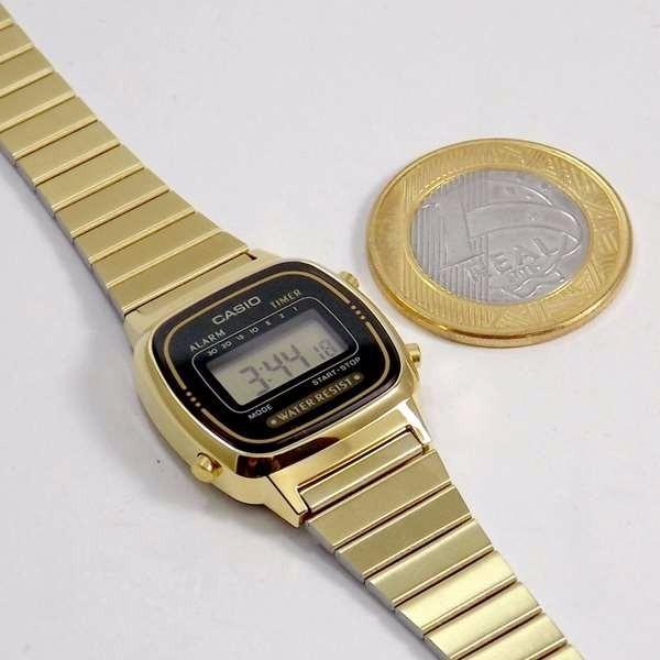 9c2ce007165 Relógio Casio Mini Dourado La670wg Retro Novo 100% Original - R  214 ...
