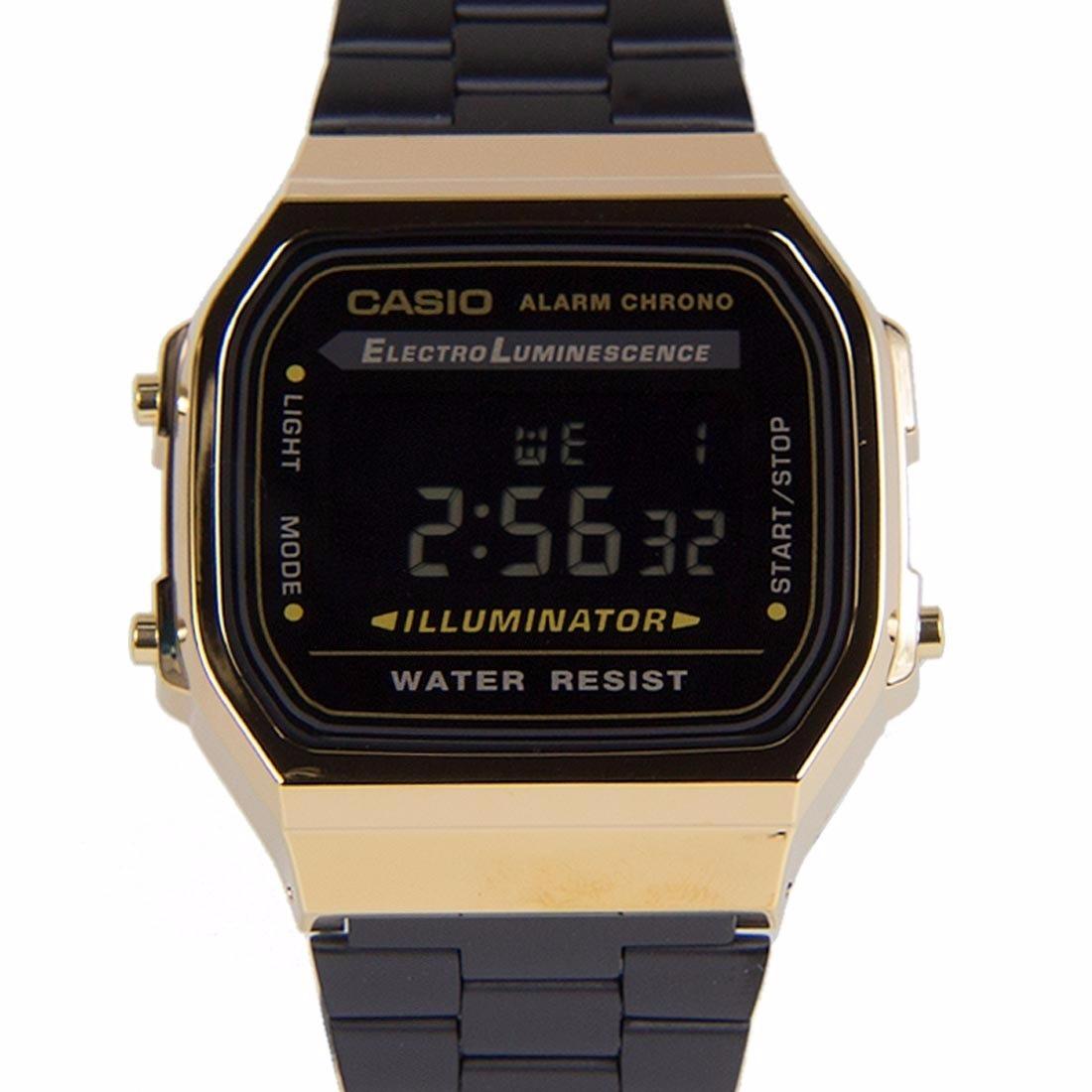 3fa8191872a relógio casio modelo a 168 original dourado preto na caixa. Carregando zoom.