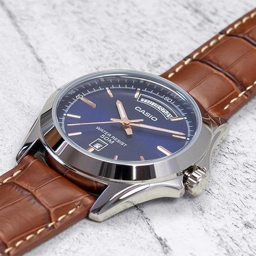 relógio casio mtp-1370l-2a pulseira de couro