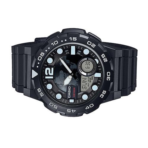 relógio casio mundial masculino aeq-100w-1avdf + frete