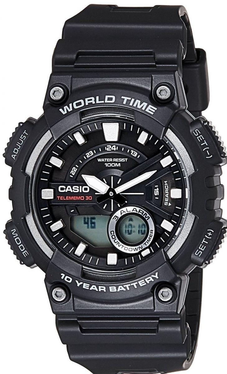 bf41eb9c3c2 relógio casio mundial masculino aeq-110w-1avdf. Carregando zoom.