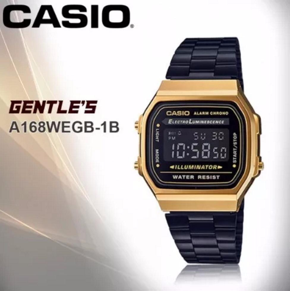 e9bae444ccb Relógio Casio Original Moda Vintage Dourado E Preto Fundo - R  220 ...