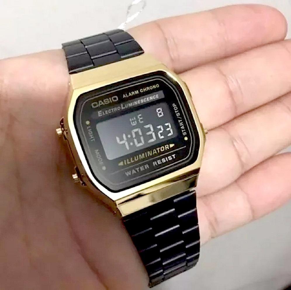 1a34a526f9b relógio casio original moda vintage dourado pulseira preta. Carregando zoom.