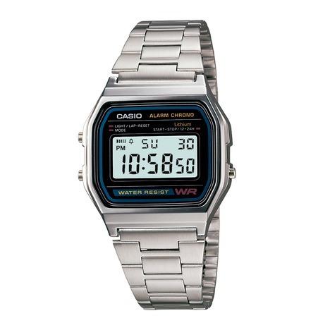 relógio casio prata a158wa 1df original nfe + garantia