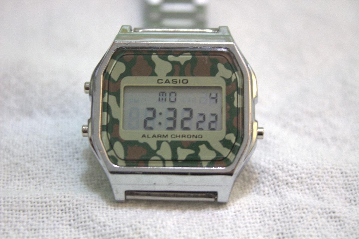 d8390a6eb38 relógio casio prata camuflado vintage retrô. Carregando zoom.