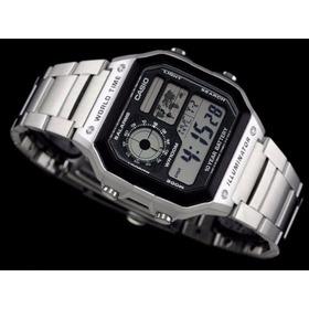 Relógio Casio Prata Mapa Digital Ae-1200whd + Frete Gratis