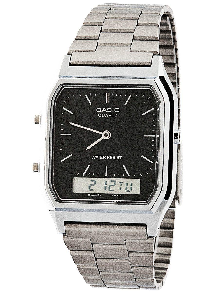 72894d7d8e1 relógio casio prateado vintage analógico digital aq230a1dmq. Carregando  zoom.