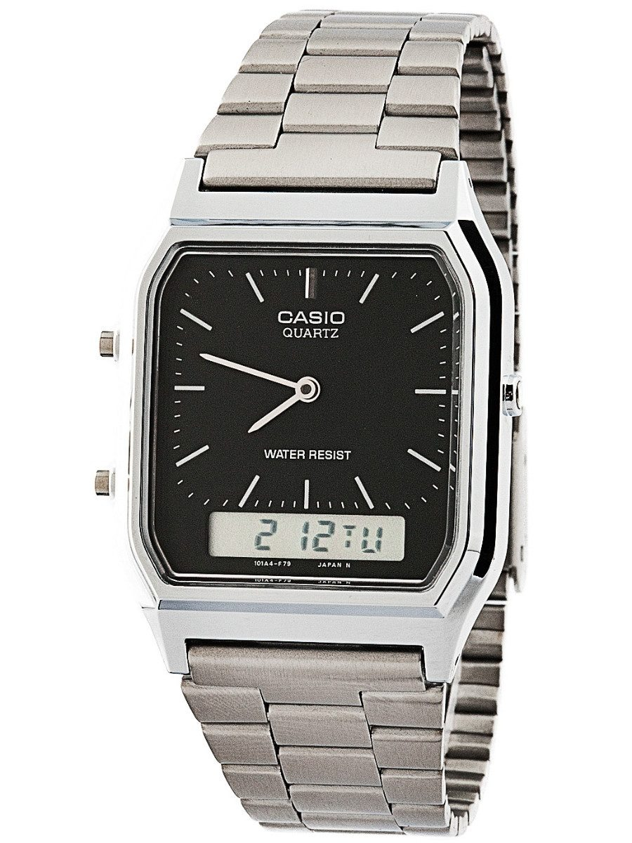 617f98ca041 relógio casio prateado vintage analógico digital aq230a1dmq. Carregando  zoom.