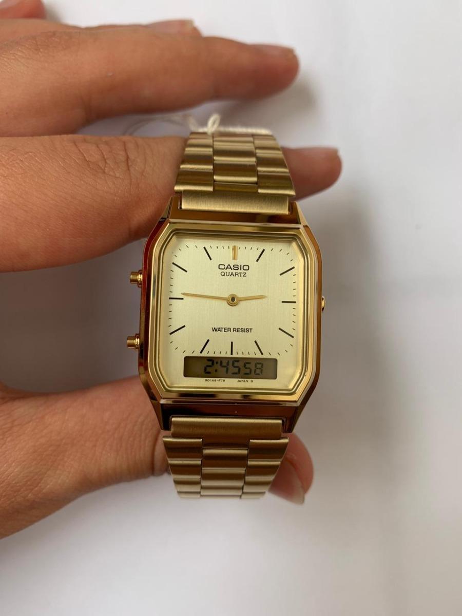 104a9694740 relógio casio retrô analógico digital aq-230ga-9dmq dourado. Carregando  zoom.