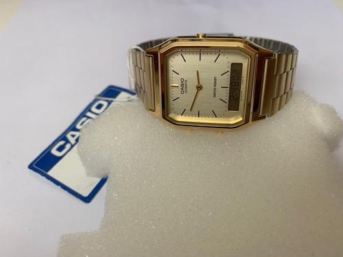 relógio casio retrô analógico digital aq-230ga-9dmq dourado