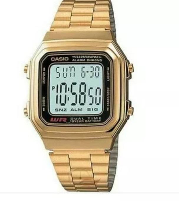 26ff5ebe1e1 Relógio Casio Retrô Vintage Dourado Original A178wga-1adf - R ...