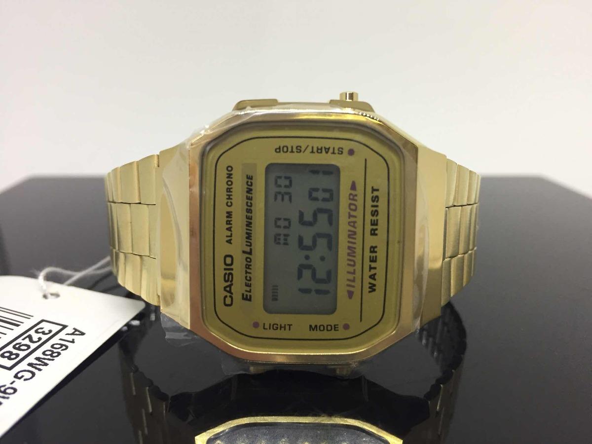 55d7a798d385 relógio casio retro digital vintage unissex dourado a168. Carregando zoom.