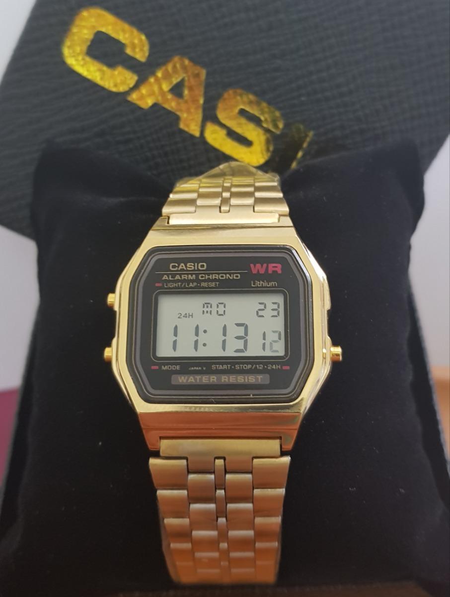 a13ed55b836e relógio casio retro vintage digital barato a159 dourado + nf. Carregando  zoom.