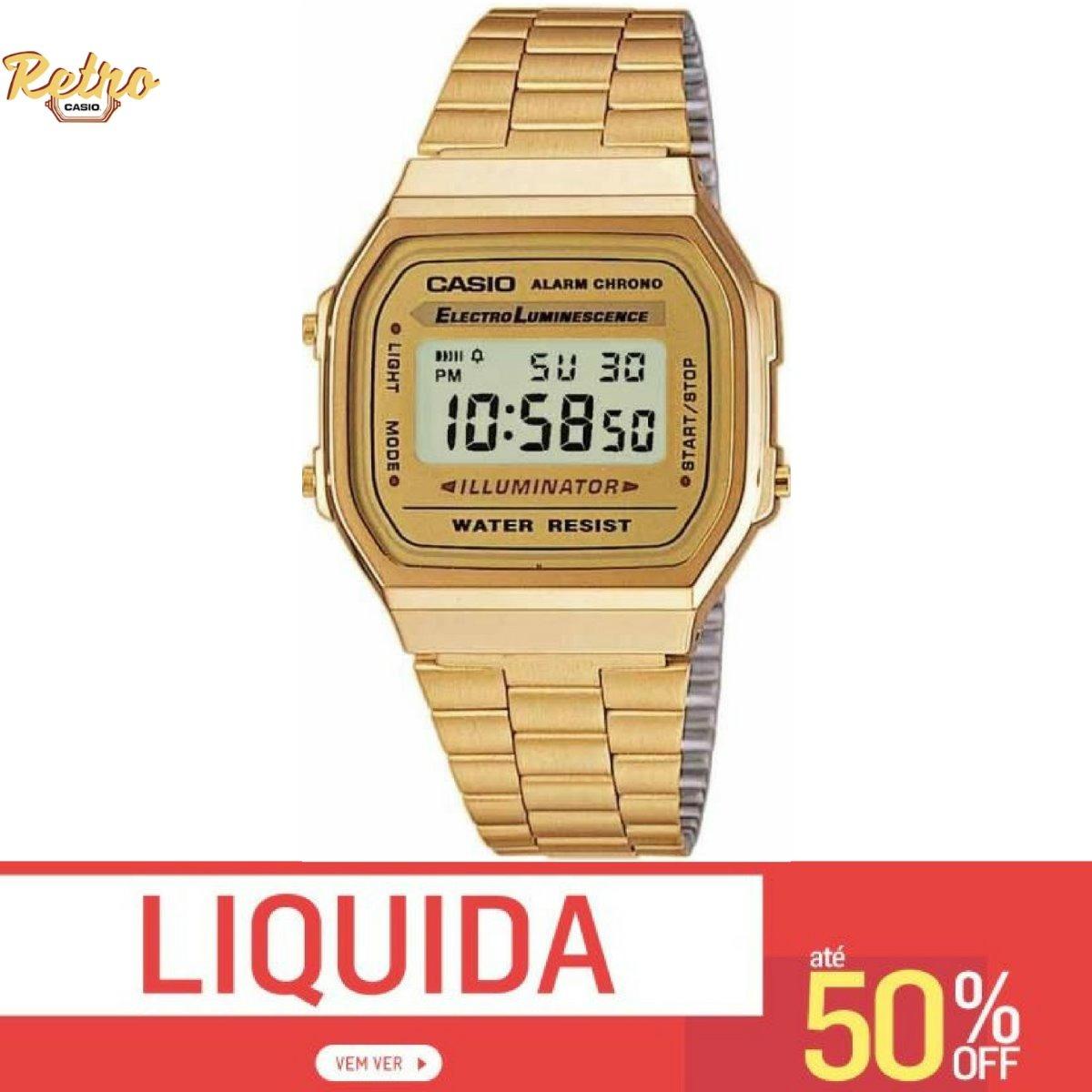 f9c84424ec6 Relogio Casio Retro Vintage Unissex A168 Dourado Original - R  120 ...