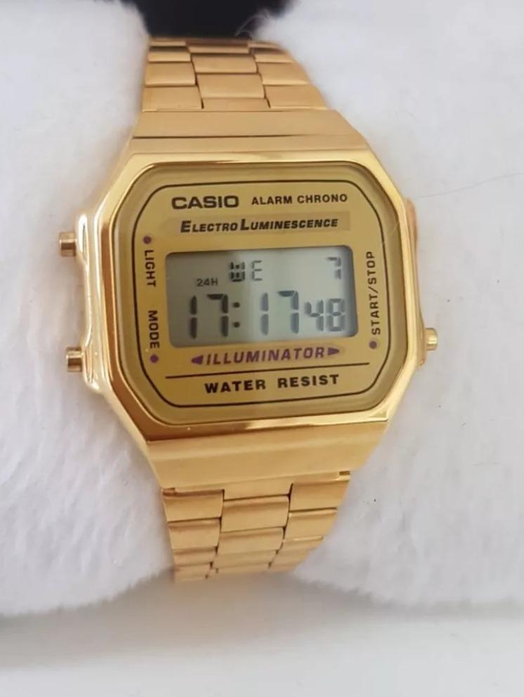 aeb6b2d6b1f relógio casio unisex a158 retrô vintage dourado a168. Carregando zoom.