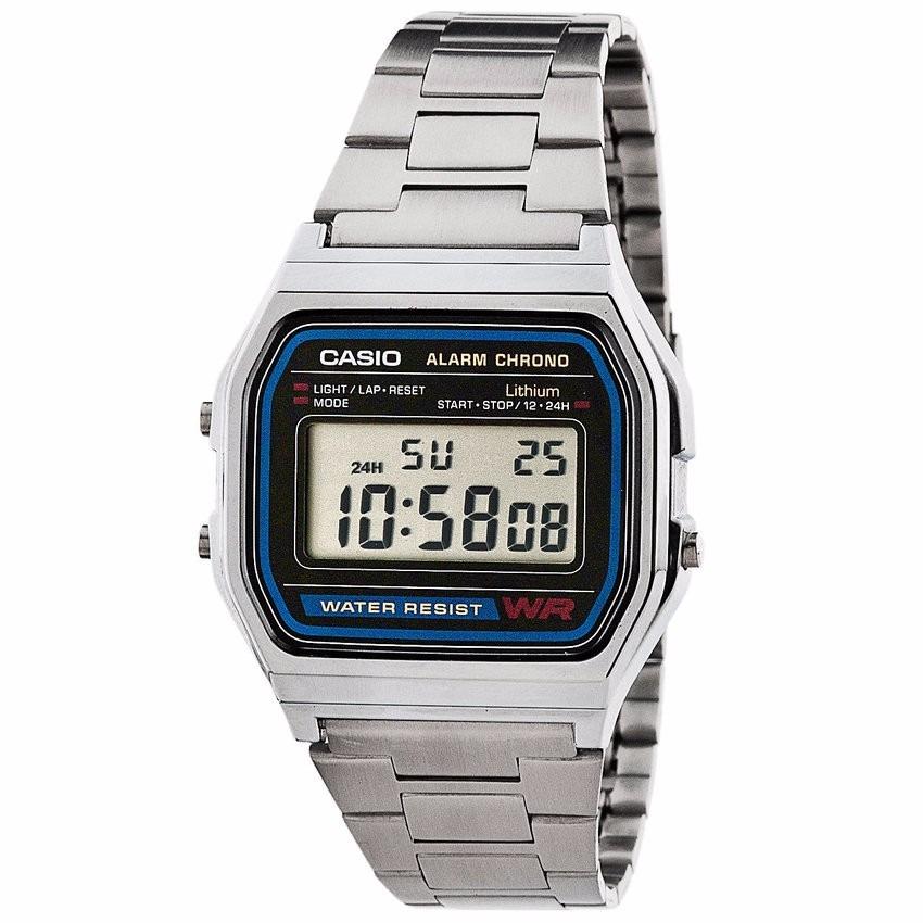 c28b840509d relógio casio unisex a158 retrô vintage prata a168 original. Carregando  zoom.