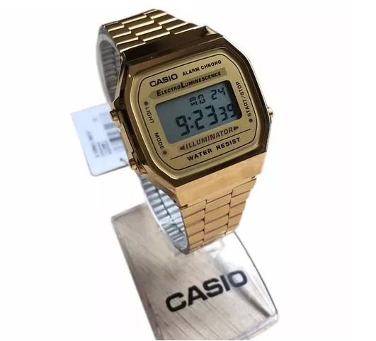 8ea77165a39 Relogio Casio Unisex A168 Retrô Vintage Dourado - R  229