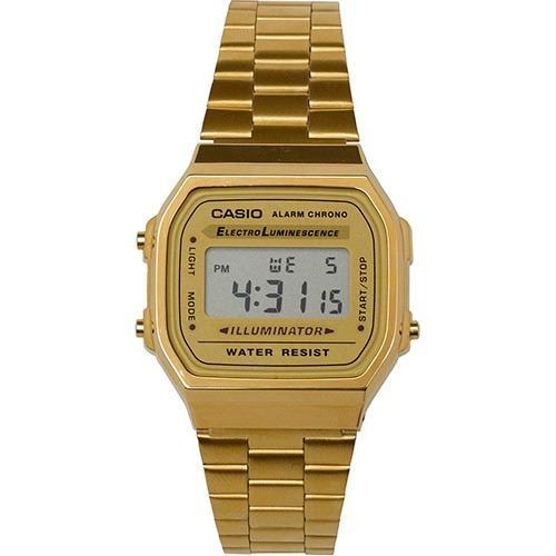 cbd45063885 Relogio Casio Unisex A168 Retrô Vintage Dourado A168ewg-9 - R  199 ...