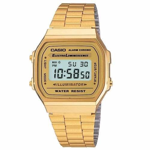 8fb302c67c9 Relógio Casio Unisex A168 Retrô-vintage Dourado A168wg-9wdf - R  232 ...