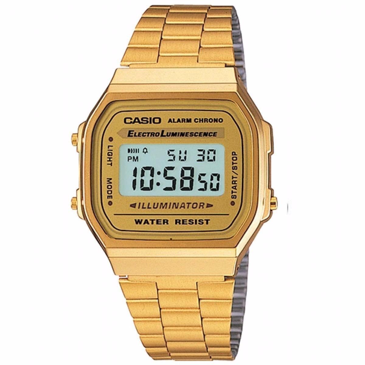 602330147b6 Relogio Casio Unisex A168 Retrô Vintage Dourado A168wg-9wdf - R  120 ...