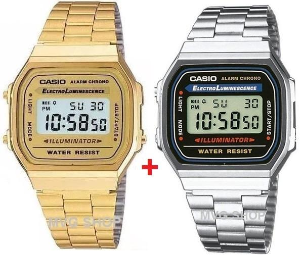 89201fd6333 Relogio Casio Unisex A168 Retrô-vintage Dourado + Prata - R  329