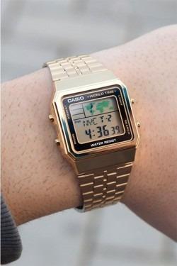 270516a5fbe Relógio Casio Unissex Vintage World Time A500wga-1df Novo - R  247 ...