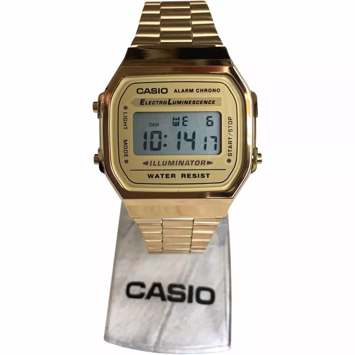 0fa562c49a5 Relogio Casio Retro Vintage Unissex Dourado A168 Original - R  169 ...