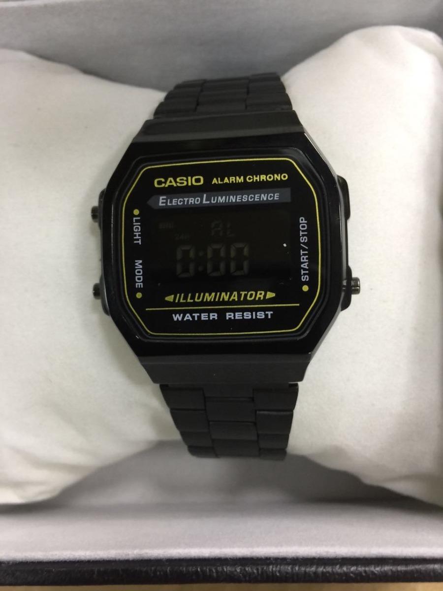 4ef150924db relógio casio unissex a168 black retrô preto vintage. Carregando zoom.