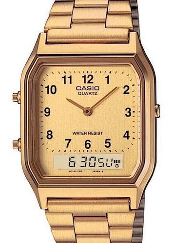 relógio casio unissex retangular dourado aq-230ga-9bmq